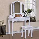 Giantex Tri Folding Mirror Vanity Makeup Table Stool Set Home Furni With 4 Drawers (White)