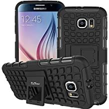 S6 Case ,Galaxy S6 Case, DLF Case [ Shockproof ] Samsung Galaxy S6 Case Heavy Duty Rugged Dual Layer TPU Textured Non Slip Reinforced Polycarbonate Hybrid Case for Samsung Galaxy S6 with Kickstand(Black)