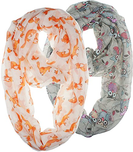 Vivian & Vincent 2 Pack of Soft Light Weight Elegant Sheer Infinity Scarf (Gift Idea) Gray Owl Alt & White Fox