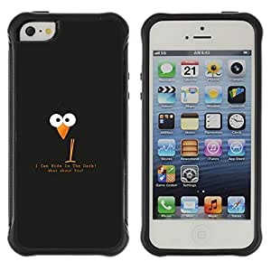 LASTONE PHONE CASE / Suave Silicona Caso Carcasa de Caucho Funda para Apple Iphone 5 / 5S / Funny Black Bird Hiding