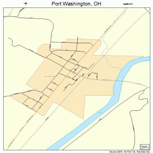 Large Street & Road Map of Port Washington, Ohio OH - Printed poster size wall atlas of your home town (Street Wall Map Port)
