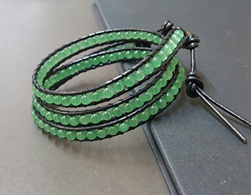 Jade Black Leather Triple Wrap Bracelet Anklet