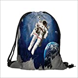"""Drawstring Cotton Linen Cloth Artsy Astronaut and Planet Earth with Art Style Print Blue Grey Craft Gift Storage Pocket Bag 6.5""""W x 8.5""""H"""