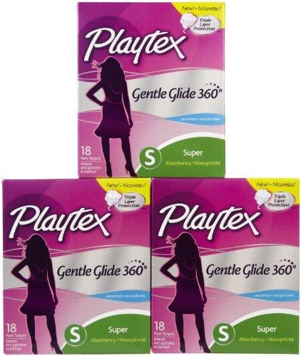 Gentle Glide Applicator Tampon Plastic (Playtex Gentle Glide 360 Tampons Plastic Applicators Unscented Super Absorbency 18 EA - Buy Packs and SAVE (Pack of 5))