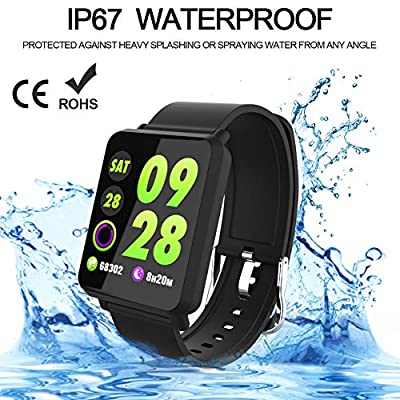 Fitness Tracker Smart Watch, Activity Tracker with Heart Rate Monitor,Color Screen Fitness Watch with Sleep Monitor Blood Pressure Monitor Step Counter, IP67 Waterproof fit for Men, Women and Kids