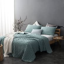 Kasentex Stone Washed Nostalgic Design Ultra Soft Washable Lightweight Quilt Pillow Case Twin Full Single Queen King Size Blanket Bed Coverlet Sets Bedspread with Solid color