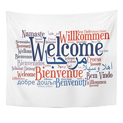 Emvency Tapestry Sign Welcome Phrase in Different Languages Words Cloud Home Decor Wall Hanging for Living Room Bedroom Dorm 50x60 - Languages Multiple