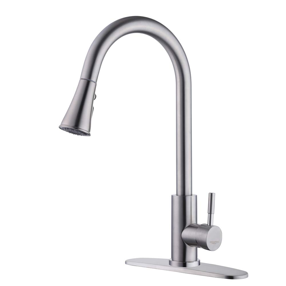 Single Handle Kitchen Sink Faucet Touch Kitchen Sink Faucets Stainless Steel FaucetLever Faucets High Arc 1handle Hot and Cold Single Easy Installation by GEOATON