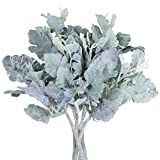 "Supla 6 Pcs Artificial Dusty Miller Spray in Grey Green Flocked Oak Leaves Stems Silk Dusty Miller Leaf Plants Faux Dusty Miller Greenery Branches 12.7"" Tall Wedding Bouquets Wreath Floral Arrangement"