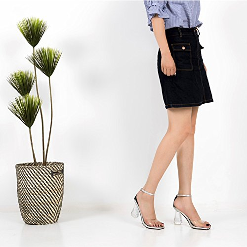 Sandals ZHIRONG Women's Summer Fashion Show Crystal Heel Transparent High Heel Parties Dating Shoes 7.5CM (Color : Black, Size : EU39/UK6/CN39) White