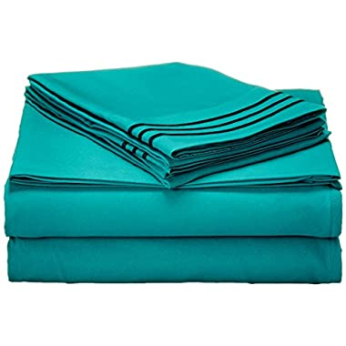 #1 Rated Best Seller Luxurious Bed Sheets Set on Amazon! Elegant Comfort® 1500 Thread Count Wrinkle,Fade and Stain Resistant 4-Piece Bed Sheet set, Deep Pocket, HypoAllergenic - Queen Turquoise