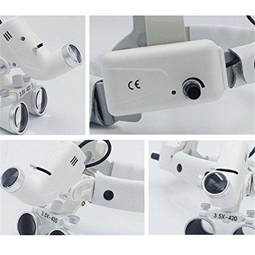 Denshine Dental Binocular Loupes Glasses Head Band Magnifier with LED Light 3.5X-420 Optical by Denshine (Image #2)