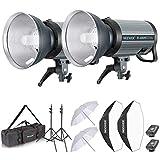 Neewer 800W Studio Strobe Flash Photography Lighting Kit:(2) 400W Monolight with 2.4G Wireless Trigger,(2) Lampshade,(2) Softbox,(2) Umbrella,(2) Light Stand,(1) Bag for Shooting Bowens Mount(Q-400N)
