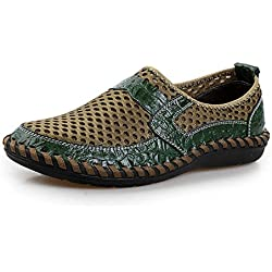 Travfis Loafers Shoes 2017 Summer Breathable Mesh Shoes Mens Casual Shoes Genuine Leather Slip On Summer Shoes Man Soft Comfortable Green 6.5