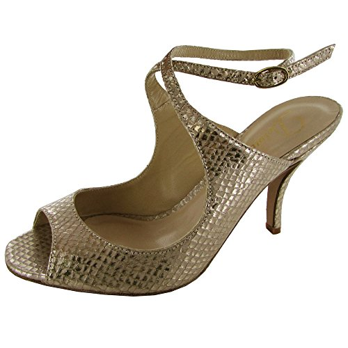 Delman Womens Apex Enveloppant En Cuir Peep Toe Sandale Nu Métallique Laver Serpent Imprimer