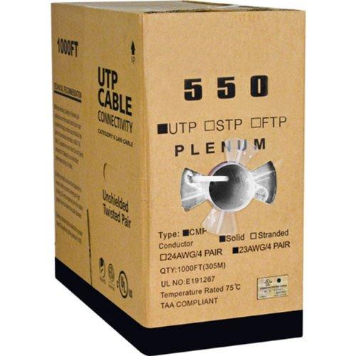 Cat6, UTP, 23AWG, 8C Solid Bare Copper, Plenum, 1000ft, White, Bulk Ethernet - Category 6 Cable Pair Plenum