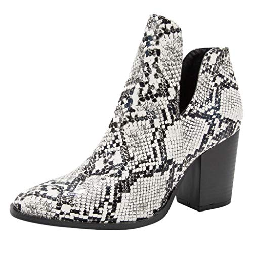 Opinionated Womens Ankle Boots Slip on Pointed Toe Snakeskin Chunky Stacked Mid Heel Booties Fashion Boot (Justin Gypsy Girl Boots)