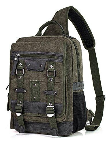 H Hikker-Link Mens Canvas Messenger Bag Laptop Sling Backpack Daypack Army Green