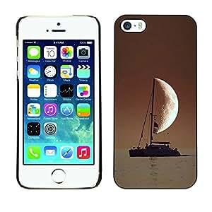 Smartphone duro PC Carcasa Funda protectora para iphone 5/5S/Phone Case TECELL Store/marinero en el mar Half Moon