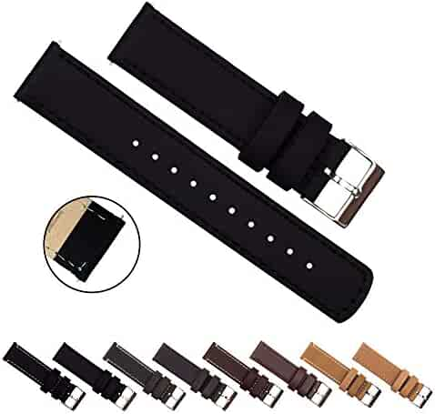 BARTON Quick Release Top Grain Leather - Choice of Colors & Widths (18mm, 20mm or 22mm) - Black 22mm Watch Band