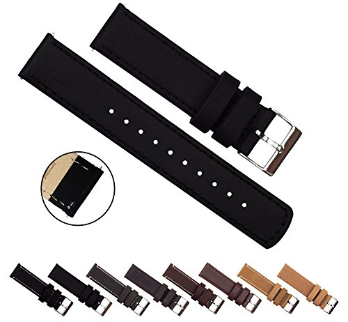 BARTON+Quick+Release+Top+Grain+Leather+-+Choice+of+Colors+%26+Widths+%2818mm%2C+20mm+or+22mm%29+-+Black+22mm+Watch+Band