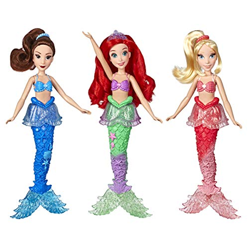 Disney Princess Ariel and Sisters Fashion Dolls, 3 Pack of Mermaid Dolls with Skirts and Hair Accessories, Toy for 3 Year Olds and Up