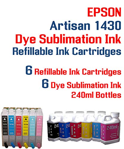 Dye Sublimation Ink - Artisan 1430 Printer Refillable Ink Cartridge Package - 6 Multi-Color Bottles 240ml Each Color - 6 Refillable Ink cartridges auto Reset Chips Installed - Artisan 1430 Printer