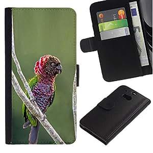 All Phone Most Case / Oferta Especial Cáscara Funda de cuero Monedero Cubierta de proteccion Caso / Wallet Case for HTC One M8 // Parrot Jungle tropical naturaleza pájaro ramificación