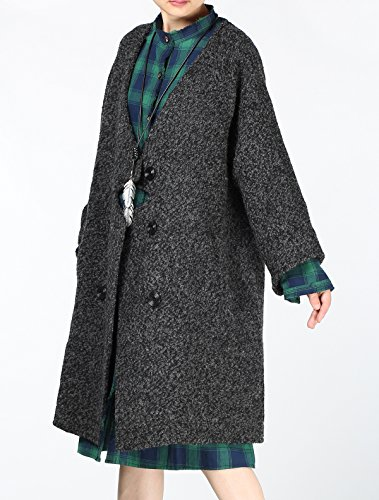 Vogstyle black One Loose Button New Style Wool Women's Coat Winter Long Overcoat 2 a7rgxUa