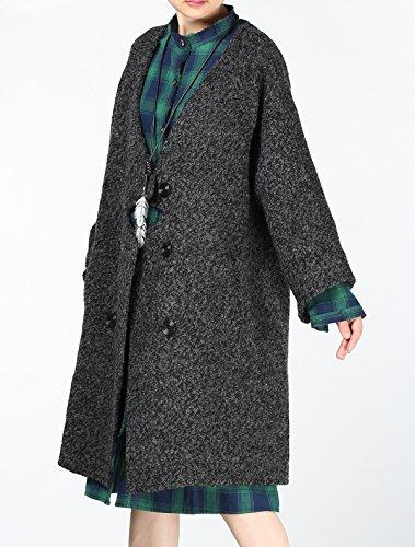 Hiver Gris Long Laine Vogstyle 2 De Style Bouton Lache Noir HCtS1qtTx