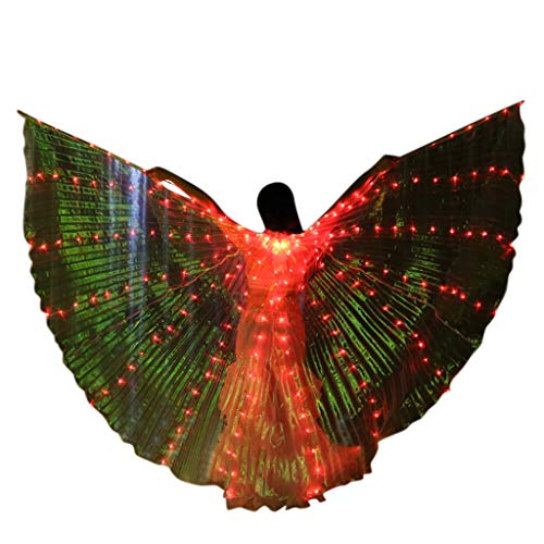 Obteun Women LED Belly Dance Wings Colorful Girls LED Butter Fly Wings with Telescopic Stick for Party (1#, A)]()
