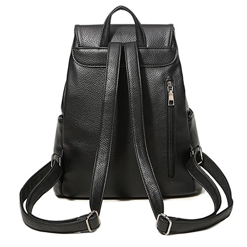 Schoolbag Shoulder Black Pack Leather Bowknot Backpack Womens 3 With Bag Casual Daypack Bq1E4wt