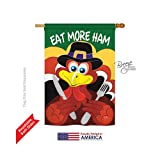 Breeze Decor H113034 Eat More Ham Fall Thanksgiving Vertical House Flag, 28″ x 40″, Multicolor Review