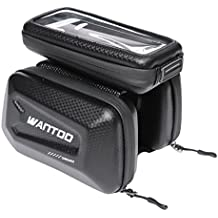 Wantdo Bike Bag Large Capacity for Cycling Accessories,Hard Shell Waterproof with Big Touch Screen Cell Phone Holder Bicycle Top Tube Bag