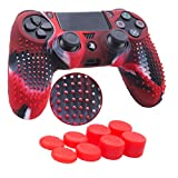 YoRHa Studded Silicone Cover Skin Case for Sony PS4/slim/Pro controller x 1(camouflage red) With Pro thumb grips x 8 For Sale