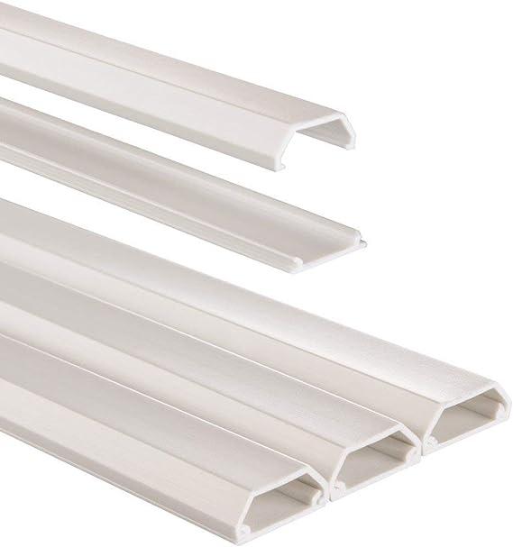 Hama 020571 - Organizador de cables (PVC, rectangular, 100/0,8/0,4 cm, 3 unidades), Blanco