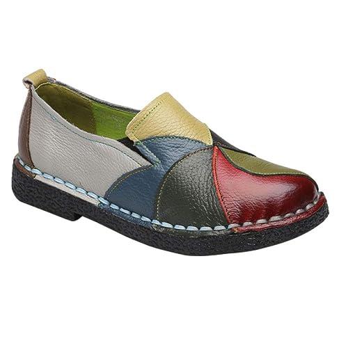 Gtagain Mujer Mocasines Cuero Conducir - Suave Cordones Embarazada Bote Zapatos Chicas Señoras Moda Tobillo Bombas: Amazon.es: Zapatos y complementos