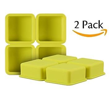 RXDZ Molde de Silicona Flexible para jabón de 4 cavidades, Molde para Tartas, Molde para Galletas, Cubitos de Hielo, Juego de 2: Amazon.es: Hogar