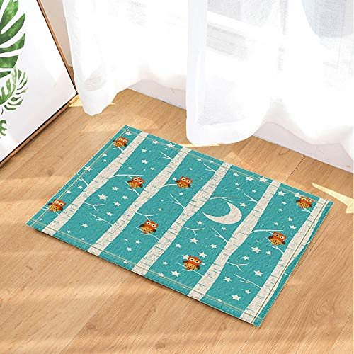 Creative Owls on Trees Under Stars Moon Bath Rugs 15.7x23.6 inch Kitchen Bedroom Front Bathroom mat Fittings White -