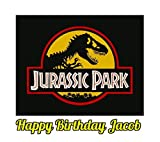 Jurassic Park Dinosaur Jurassic World Edible Image Photo Sugar Frosting Icing Cake Topper Sheet Personalized Custom Customized Birthday Party - 1/4 Sheet - 74167