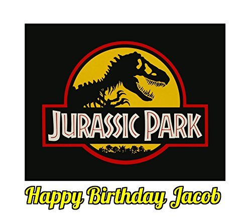 Jurassic Park Dinosaur Jurassic World Edible Image Photo Sugar Frosting Icing Cake Topper Sheet Personalized Custom Customized Birthday Party - 1/4 Sheet - 74167 by Sweet Custom Cakes