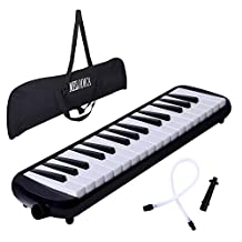 CAHAYA Melodica 32-Key Piano Style Portable Pianica with Plastic Flexible Long Pipe Short Mouthpiece and Carrying Bag for Music Lovers Beginners Kids - Black