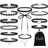 Image of Caydo 12 Pieces Black Choker Necklace Lace Choker Tattoo Necklace for Women and Girls