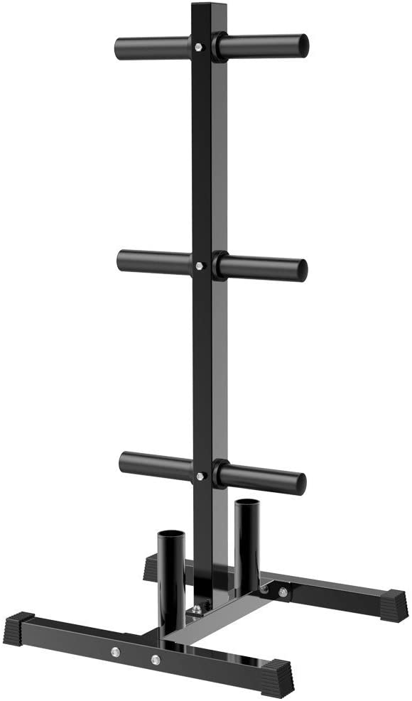Topeakmart Tree Olympic Plate Rack Weight Bumper Plate Holder with 2 Bar Holders Black : Sports & Outdoors