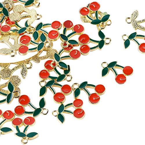 PH PandaHall 10pcs Alloy Enamel Pendants Red Cherry Enamel Charms for Jewelry Keychain and Zipper Pulls Making Hole: 2mm Cherry Satin Gold Pendant