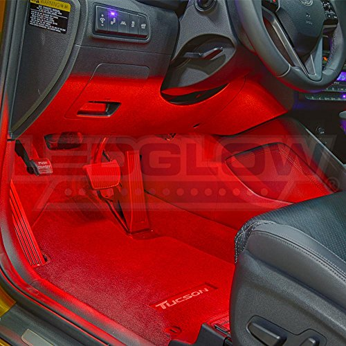 ledglow 4pc red led car interior underdash lighting kit universal fitment music mode auto. Black Bedroom Furniture Sets. Home Design Ideas