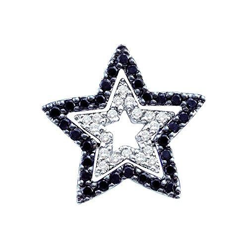 14K White Gold Black Diamond Beautiful Star Shaped Necklace Pendant 1/3 Ctw.