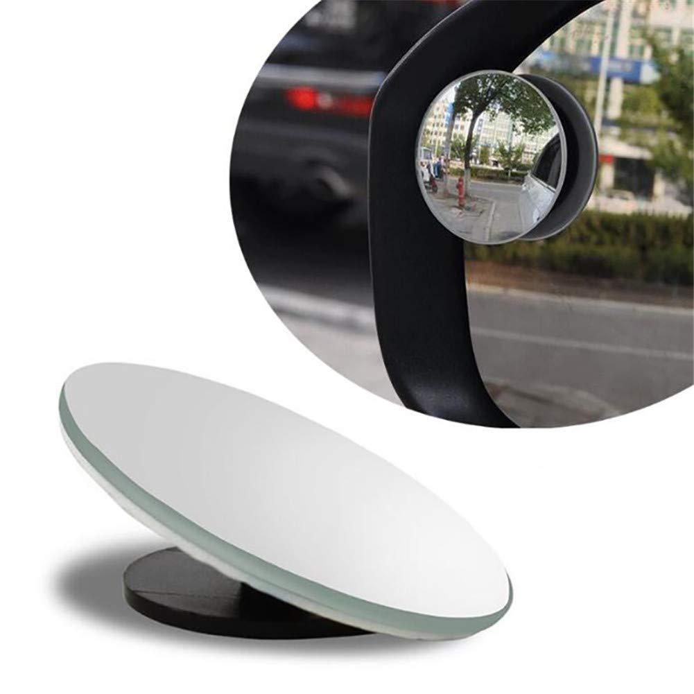 2 PCS Espejo de Punto Ciego Espejo Retrovisor Convexo de Vidrio Redondo HD Espejos Exteriores de Coche Gran Angular Ajustables sin Marco Rotaci/ón de 360 /° para Todos los Veh/ículos Universales Coche