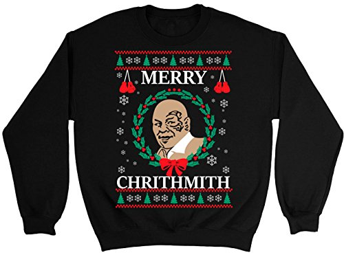 NuffSaid Merry Chrithmith Chirithmith Mike Tyson Ugly Christmas Sweater Unisex Sweatshirt (4XL, Black) -