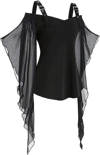 Tops sin Mangas con Hombros Descubiertos para Mujer Club Nocturno gótico Tops con túnica Negra Hebilla con Correa Diseño de murciélago de Malla Camisas de Manga Larga: Amazon.es: Ropa y accesorios